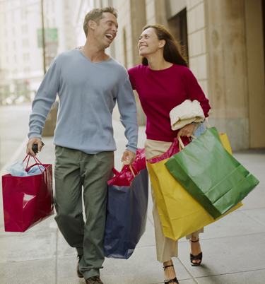 man and woman shopping adj